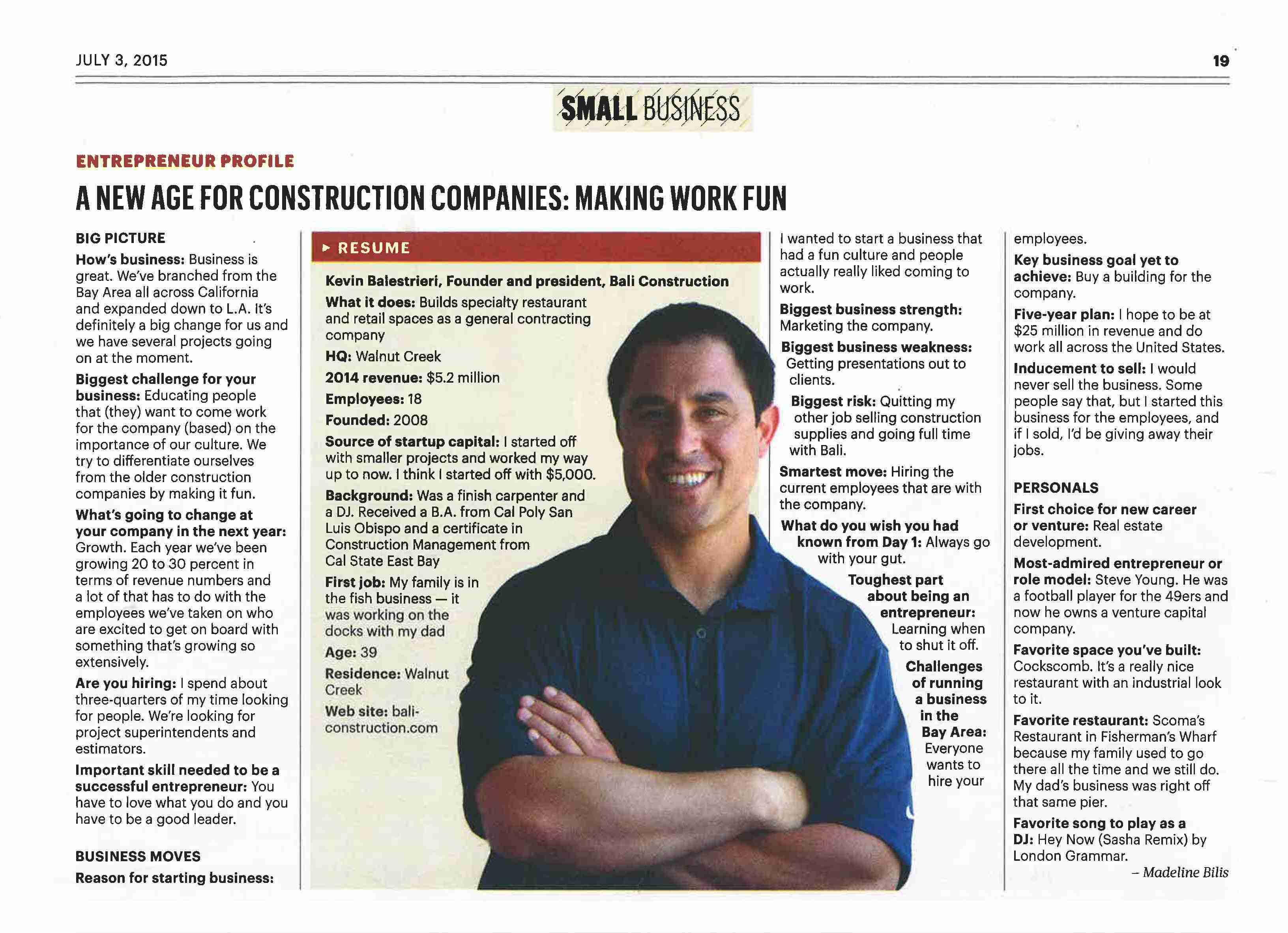 BALI Construction San Francisco Business Times Feature